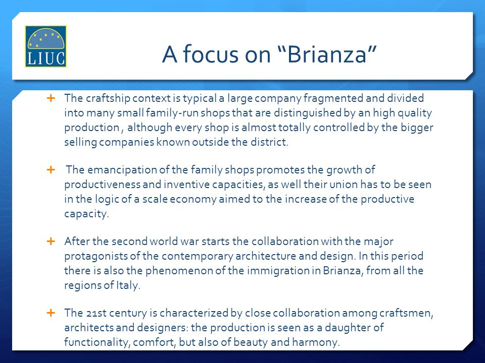 A focus on Brianza
