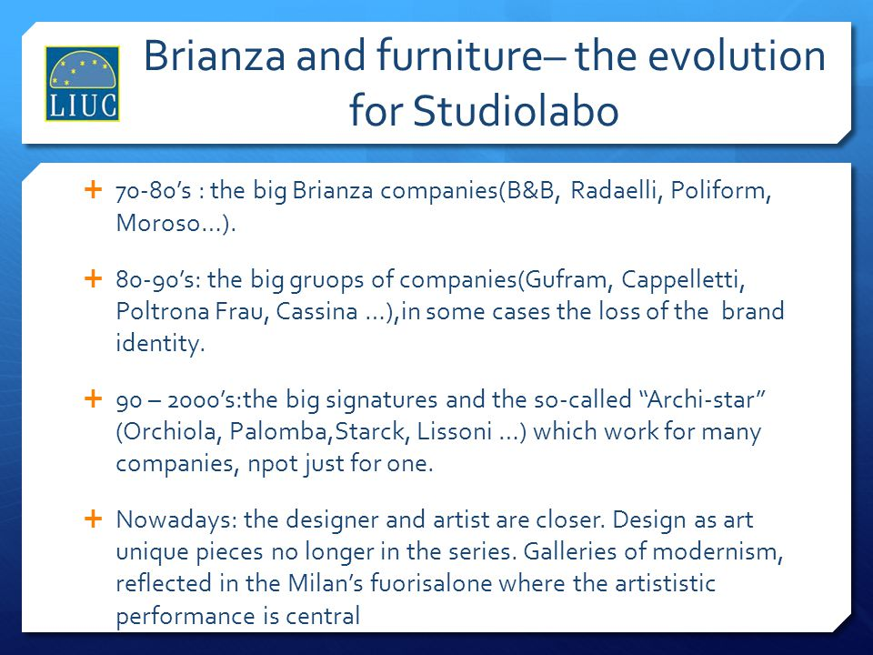 Brianza and furniture– the evolution for Studiolabo