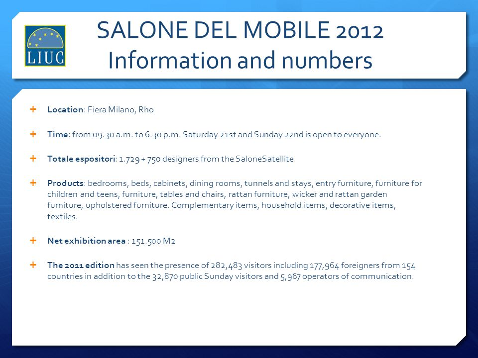 SALONE DEL MOBILE 2012 Information and numbers
