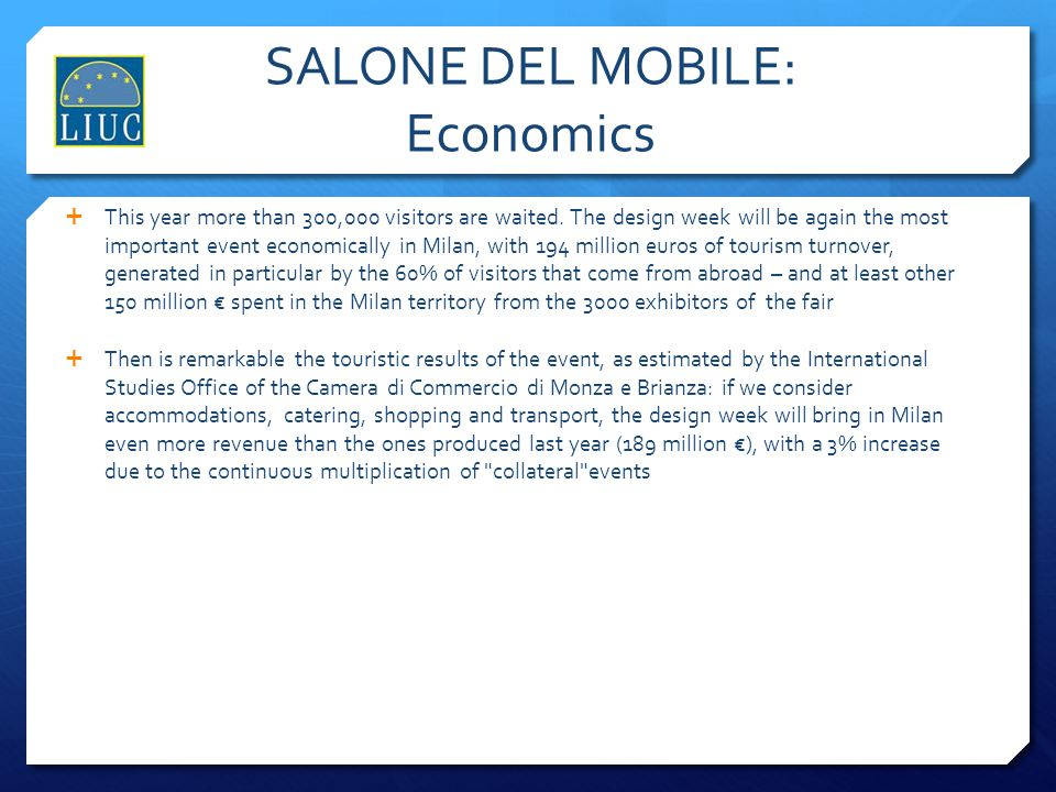 SALONE DEL MOBILE: Economics