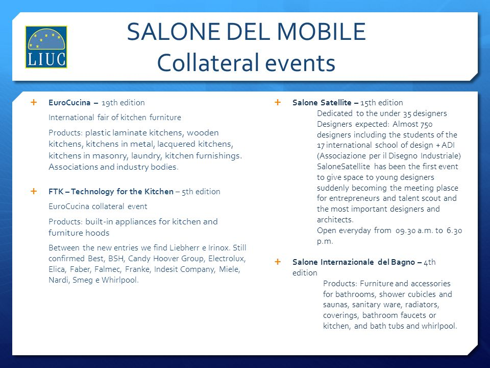 SALONE DEL MOBILE Collateral events
