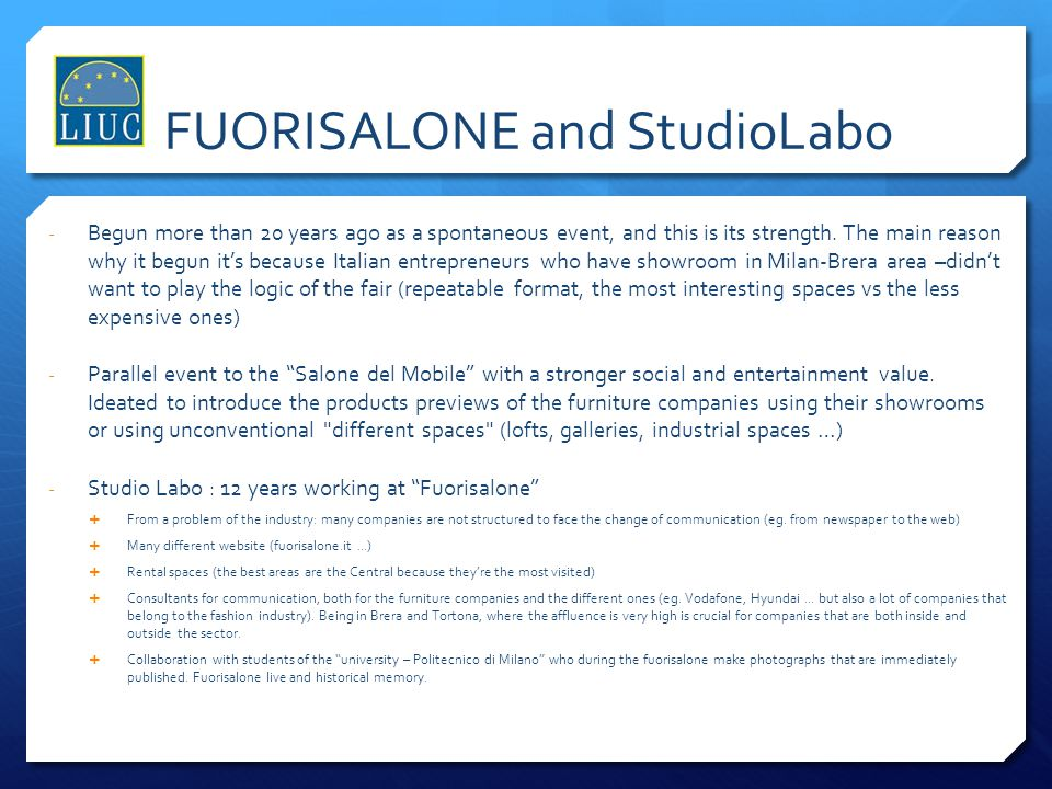 FUORISALONE and StudioLabo