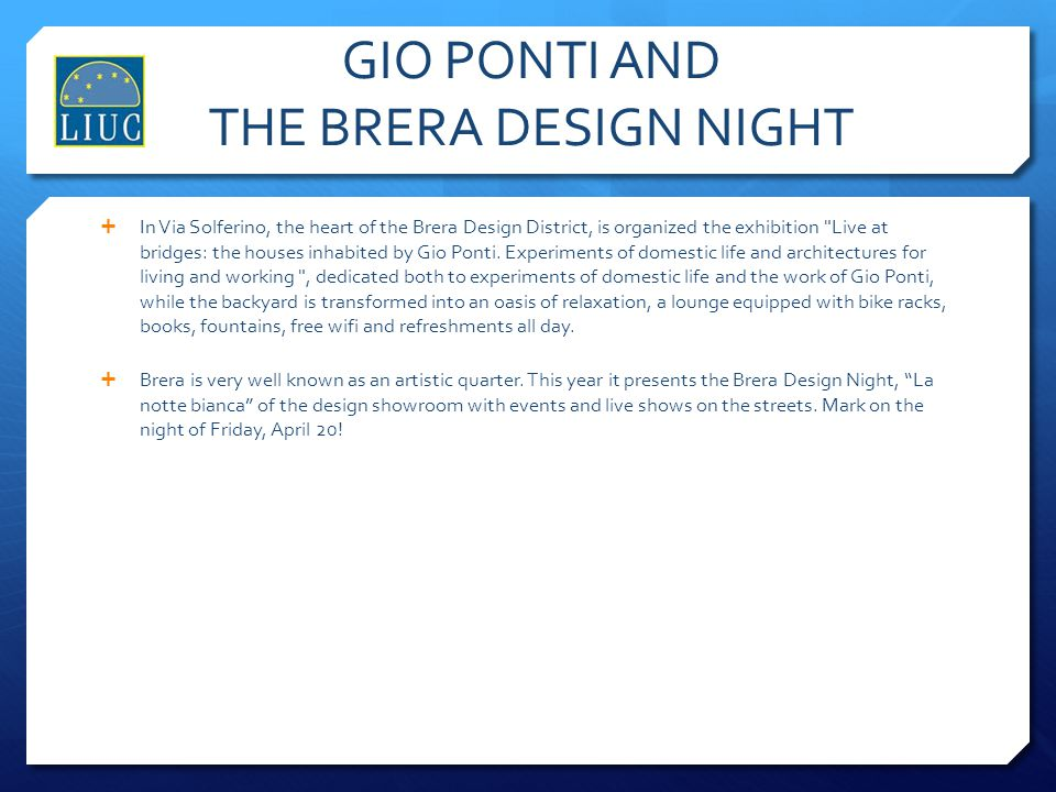 GIO PONTI AND THE BRERA DESIGN NIGHT