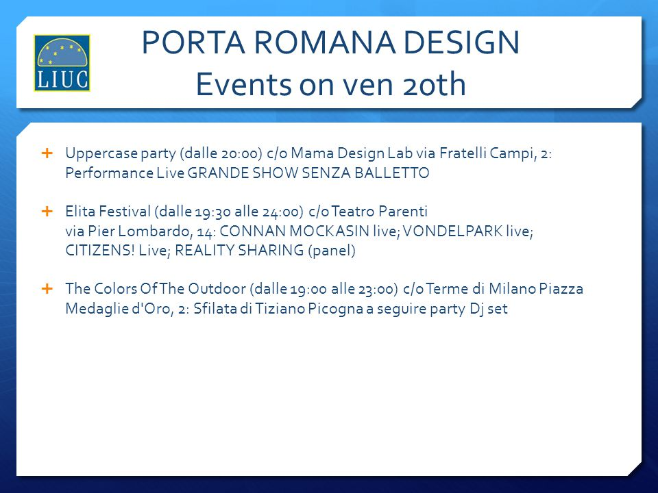 PORTA ROMANA DESIGN Events on ven 20th