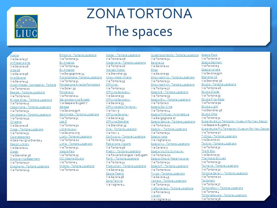 ZONA TORTONA The spaces