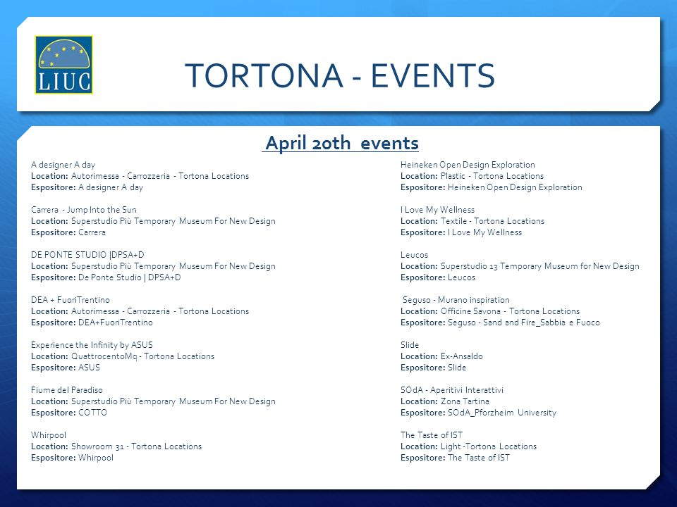 TORTONA - EVENTS April 20th events A designer A day