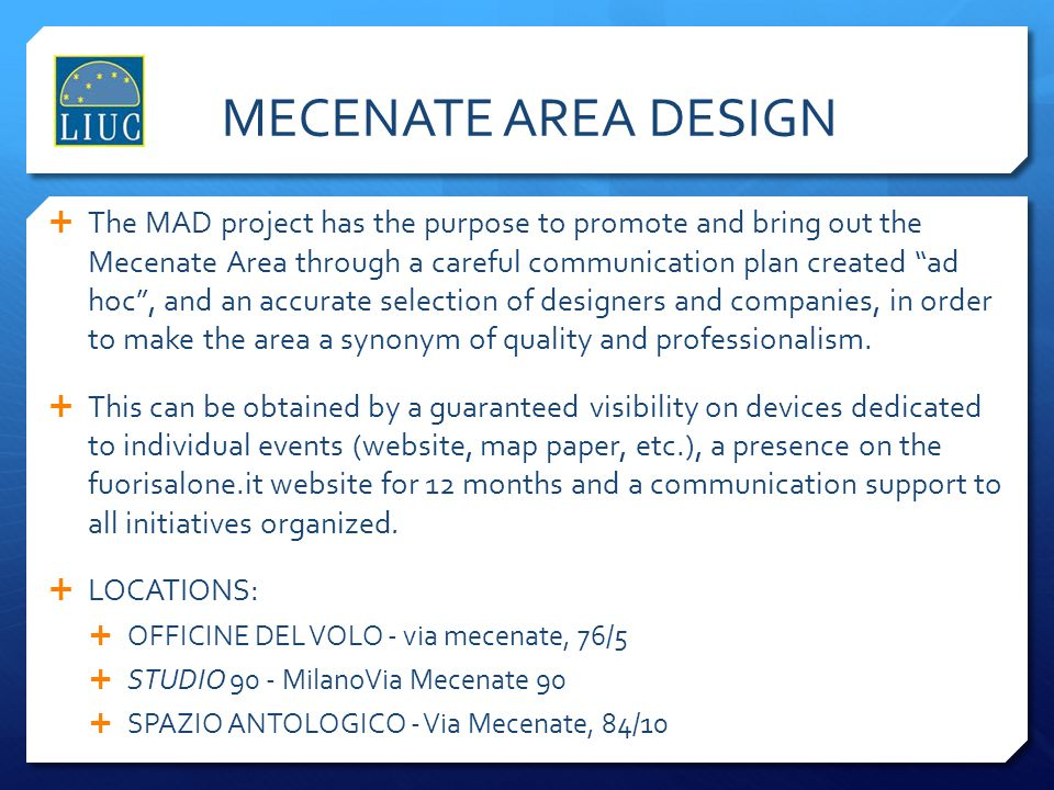 MECENATE AREA DESIGN