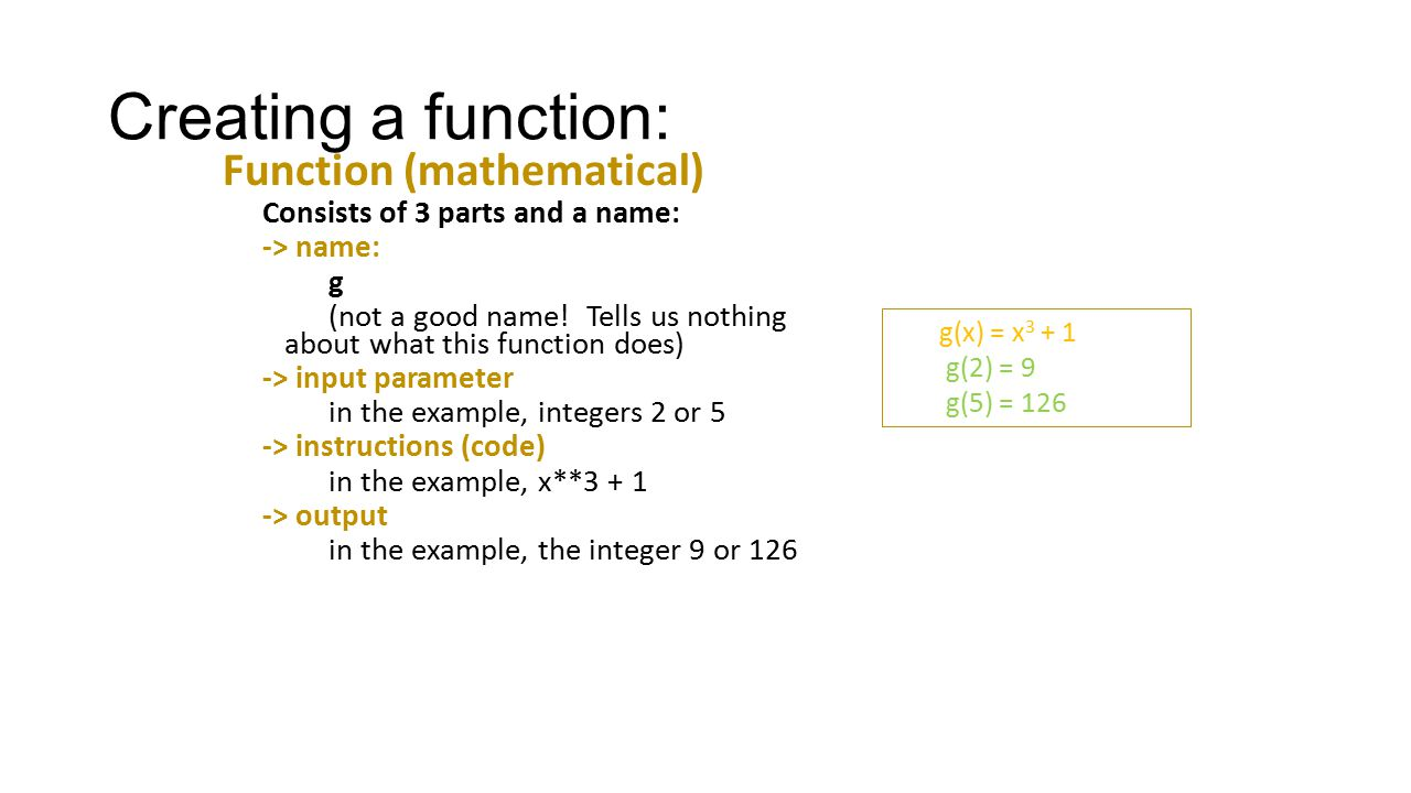 Creating a function: Function (mathematical)
