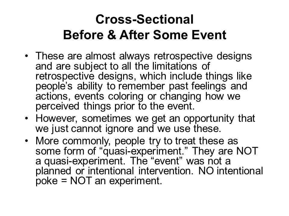 Cross-Sectional Before & After Some Event