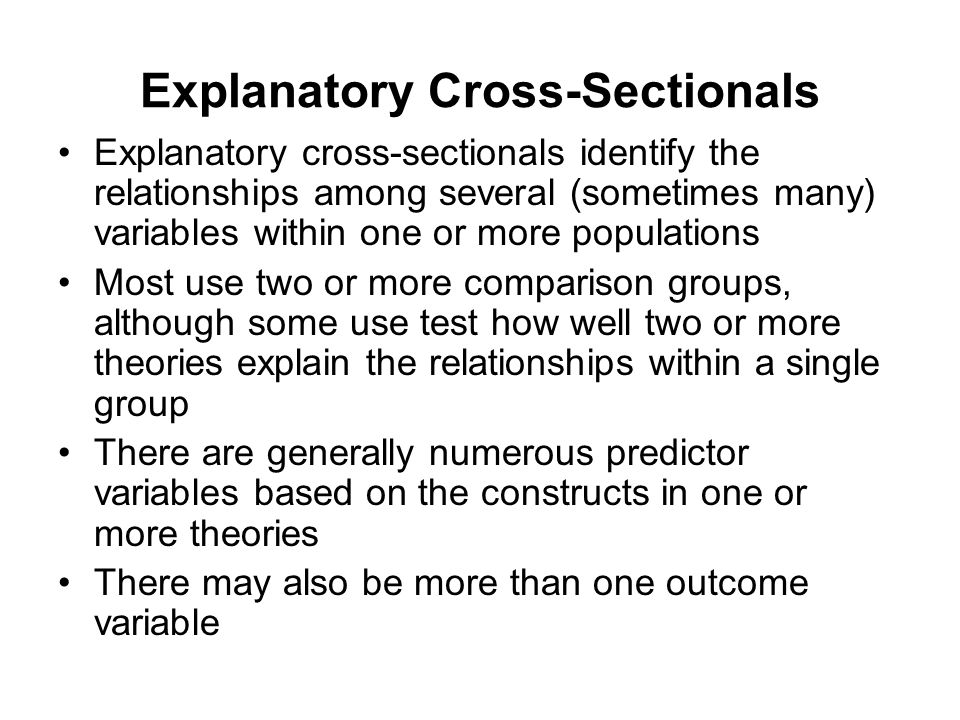 Explanatory Cross-Sectionals