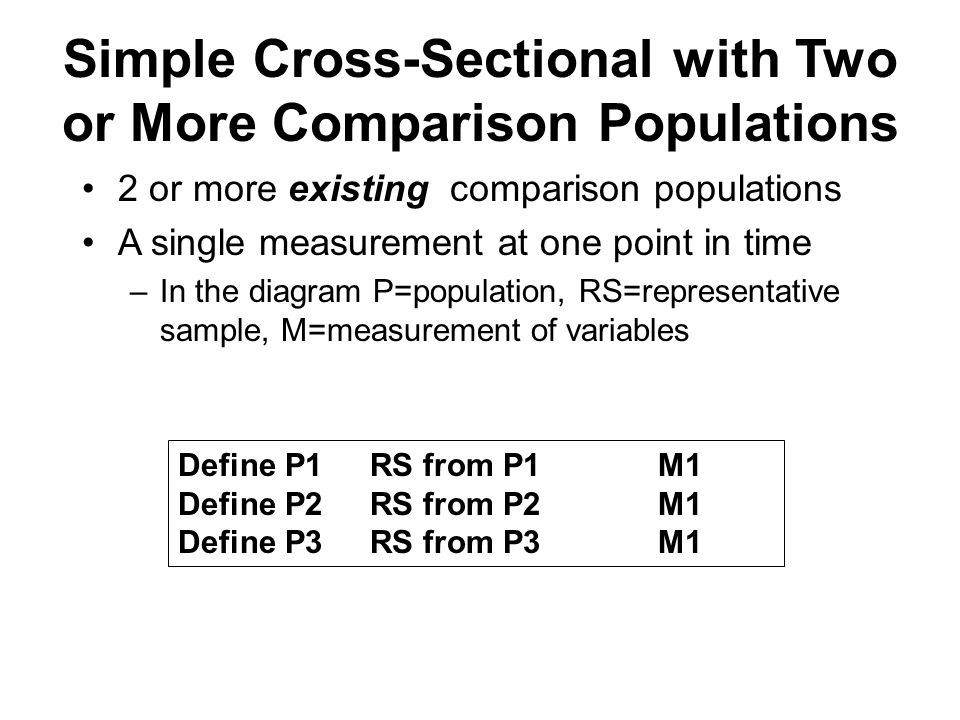 Simple Cross-Sectional with Two or More Comparison Populations