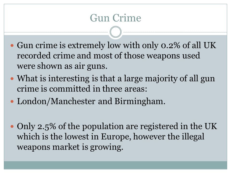 Gun Crime Gun crime is extremely low with only 0.2% of all UK recorded crime and most of those weapons used were shown as air guns.