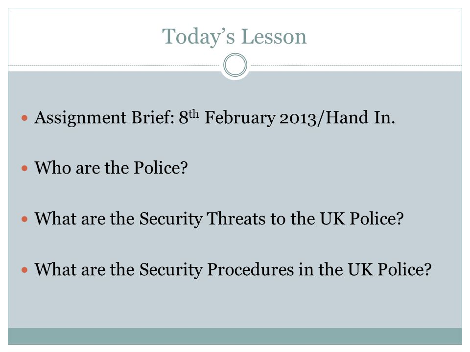 Today's Lesson Assignment Brief: 8th February 2013/Hand In.
