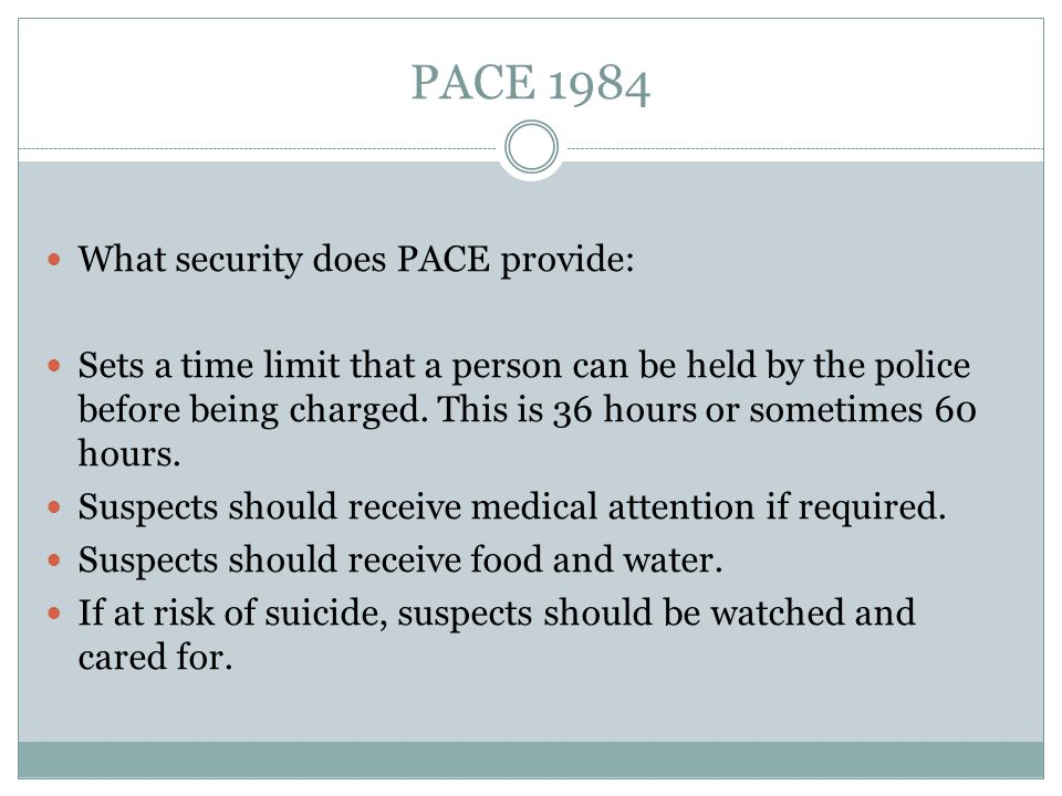PACE 1984 What security does PACE provide: