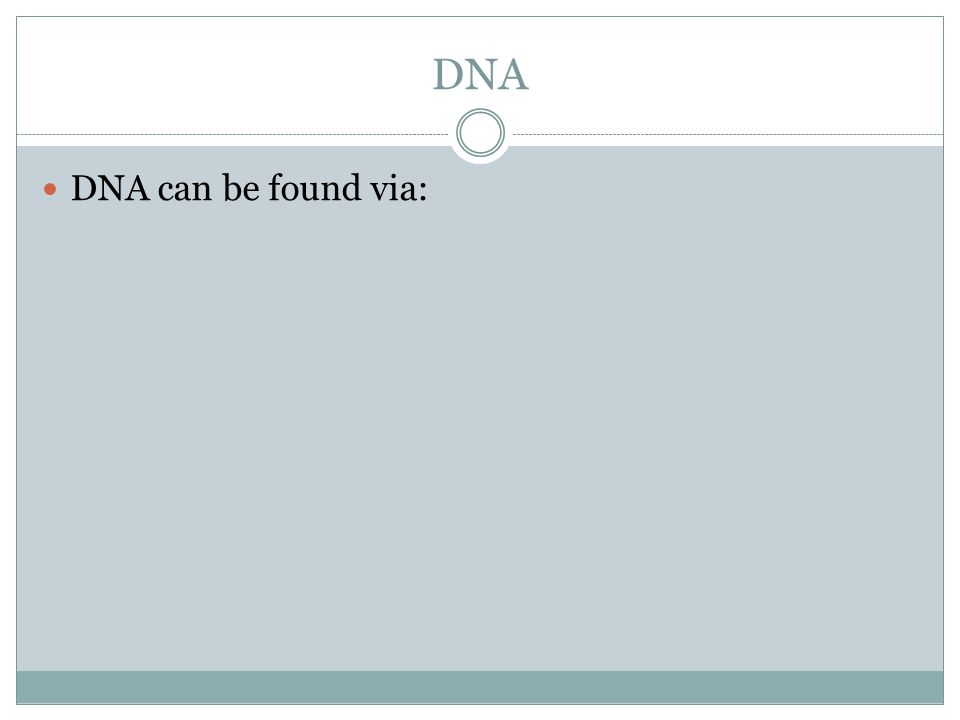 DNA DNA can be found via: