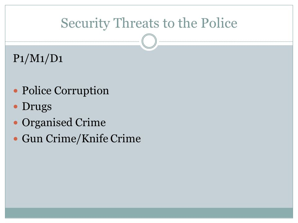 Security Threats to the Police