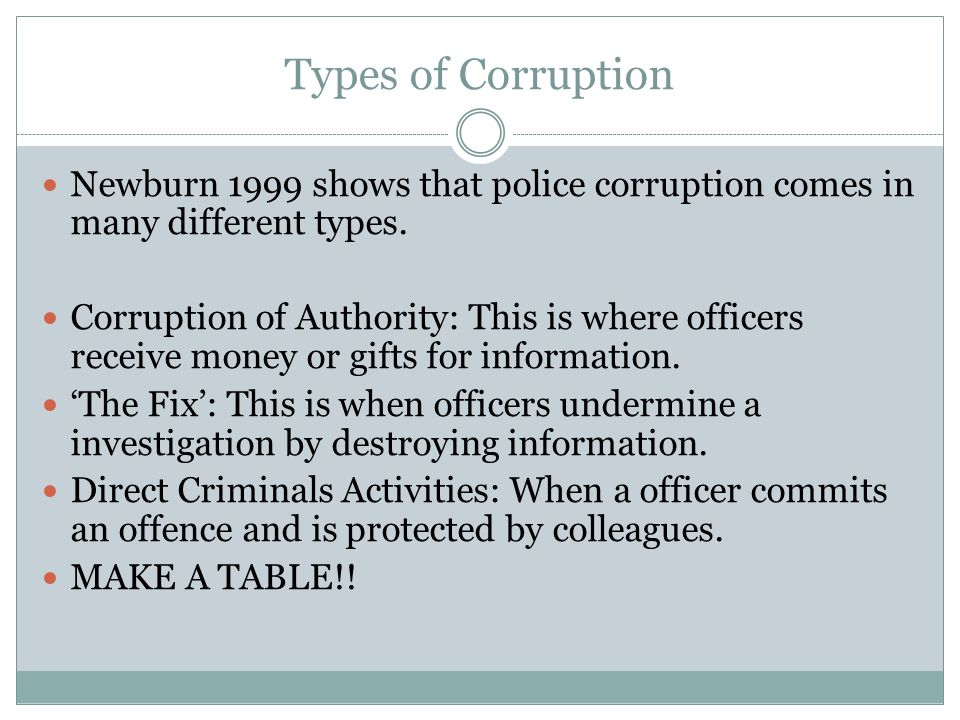 Types of Corruption Newburn 1999 shows that police corruption comes in many different types.