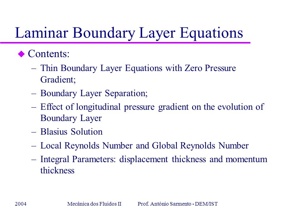 Laminar Boundary Layer Equations