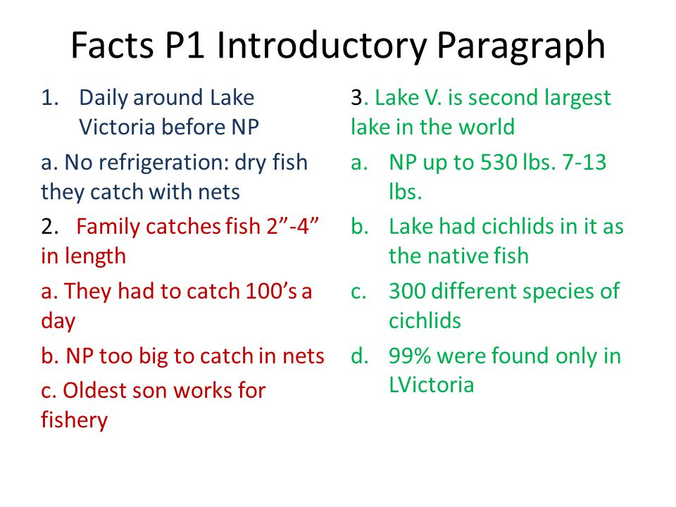 Facts P1 Introductory Paragraph