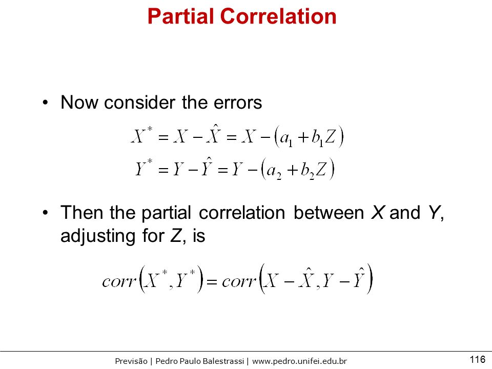 Partial Correlation Now consider the errors