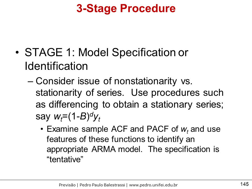 STAGE 1: Model Specification or Identification