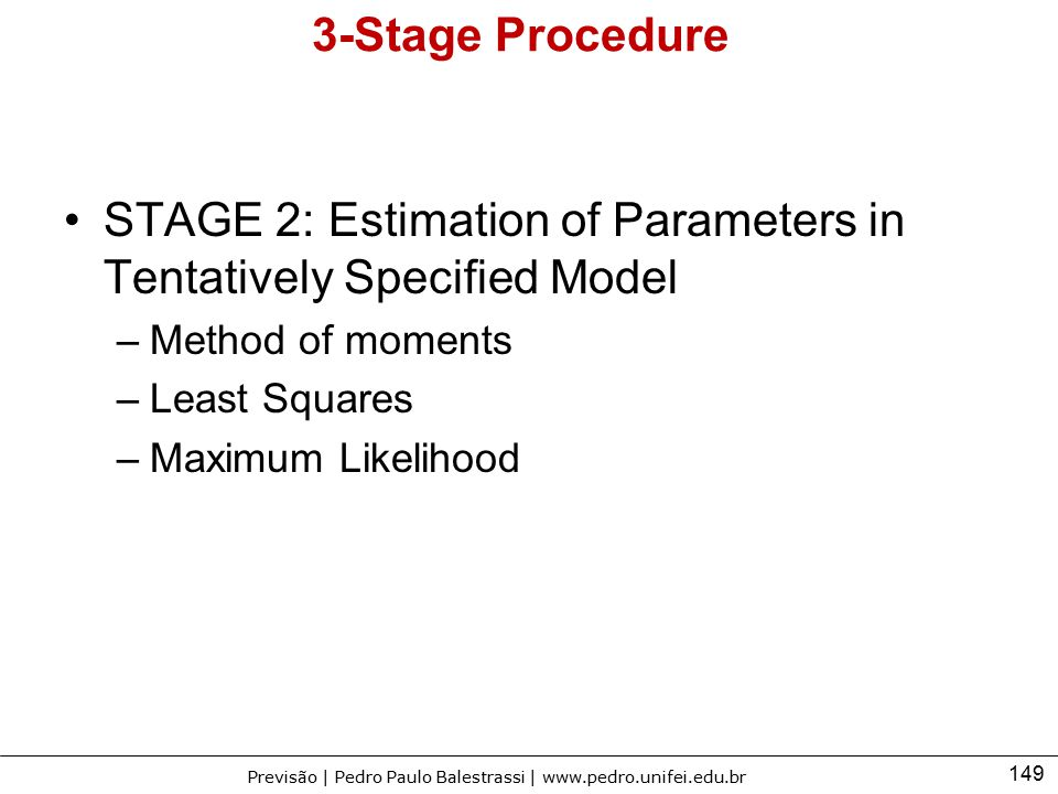 STAGE 2: Estimation of Parameters in Tentatively Specified Model