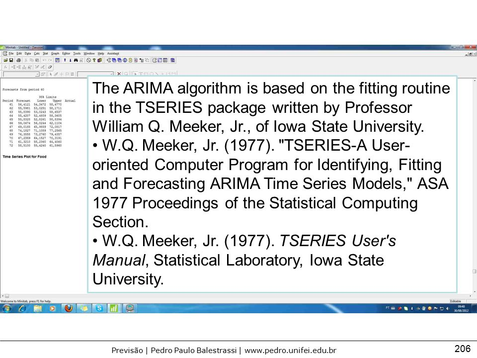 The ARIMA algorithm is based on the fitting routine in the TSERIES package written by Professor William Q. Meeker, Jr., of Iowa State University.