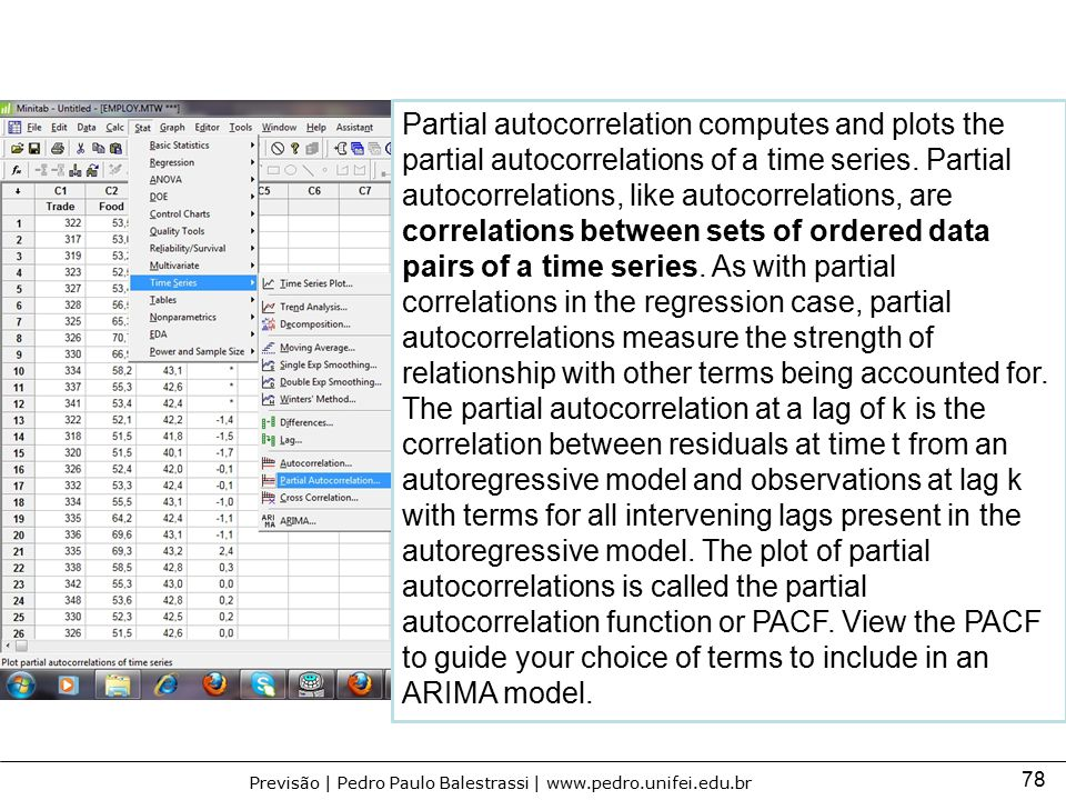 Partial autocorrelation computes and plots the partial autocorrelations of a time series.