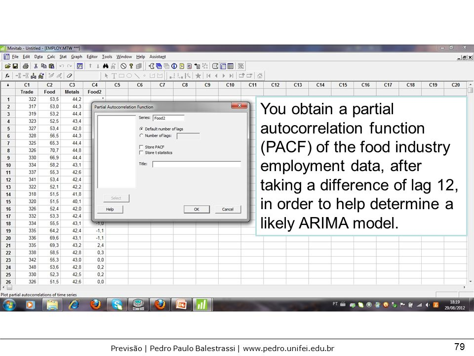 You obtain a partial autocorrelation function (PACF) of the food industry employment data, after taking a difference of lag 12, in order to help determine a likely ARIMA model.