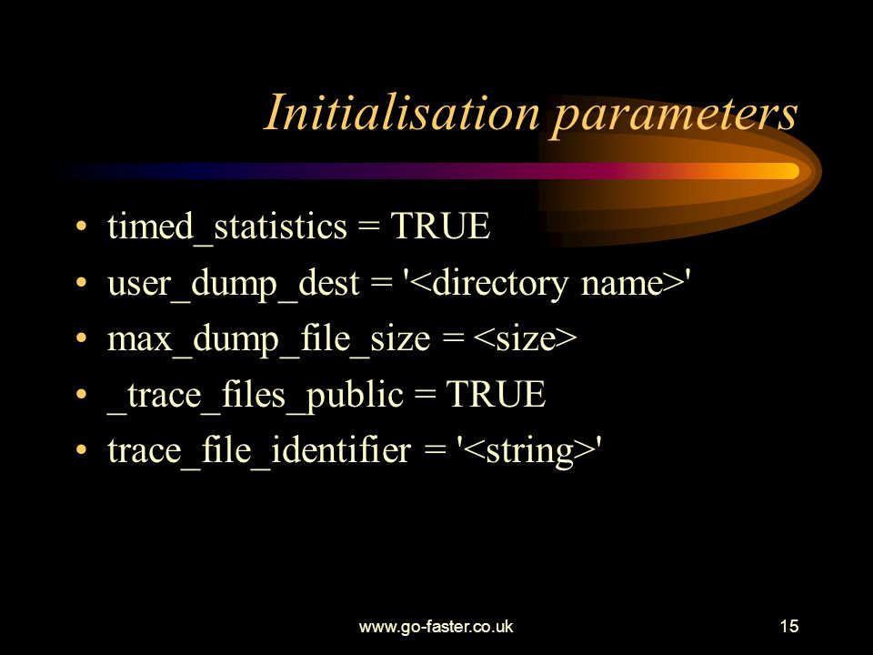 Initialisation parameters