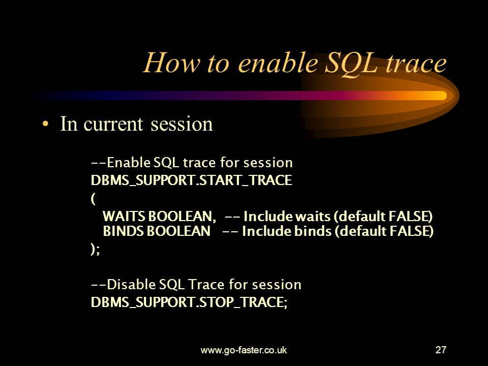How to enable SQL trace In current session