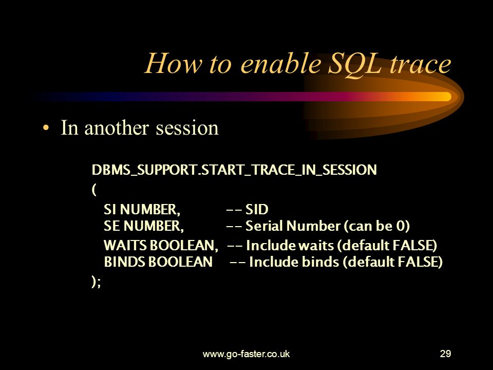 How to enable SQL trace In another session