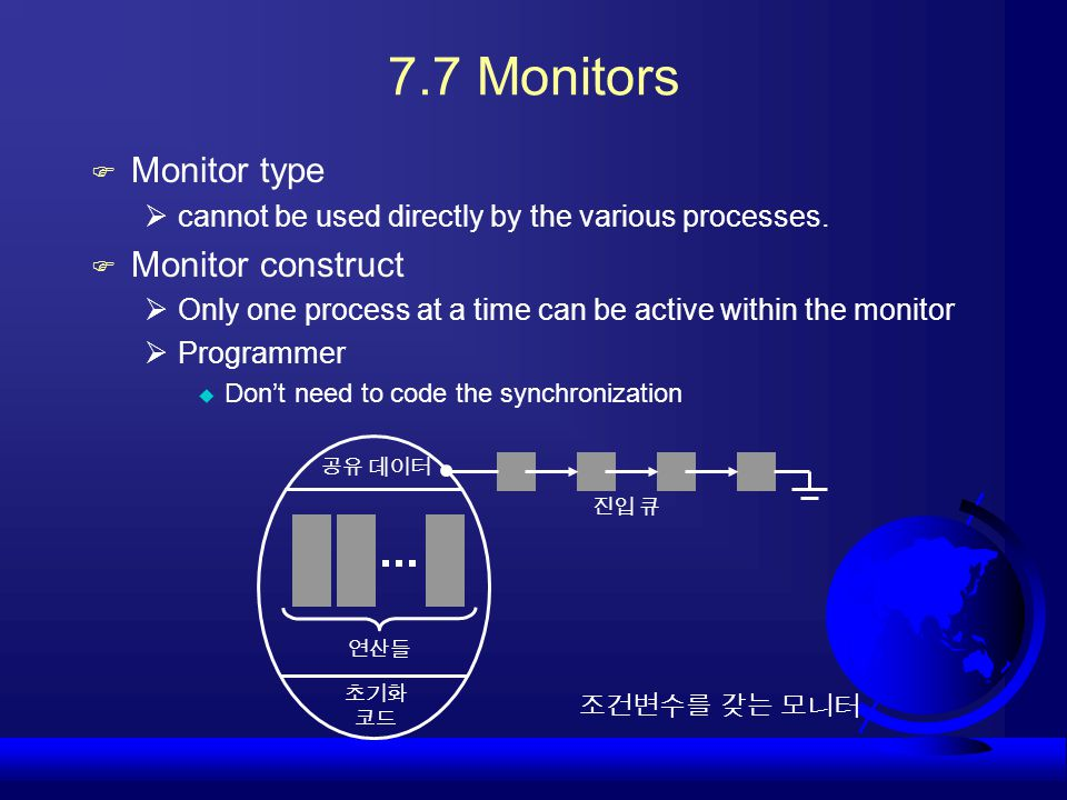 7.7 Monitors Monitor type Monitor construct