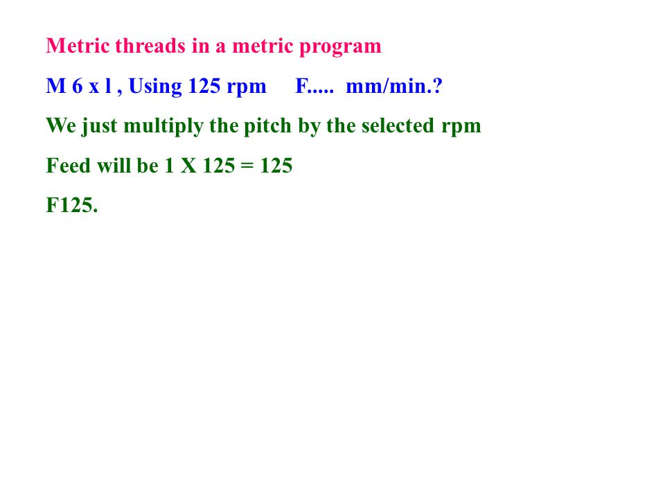 Metric threads in a metric program