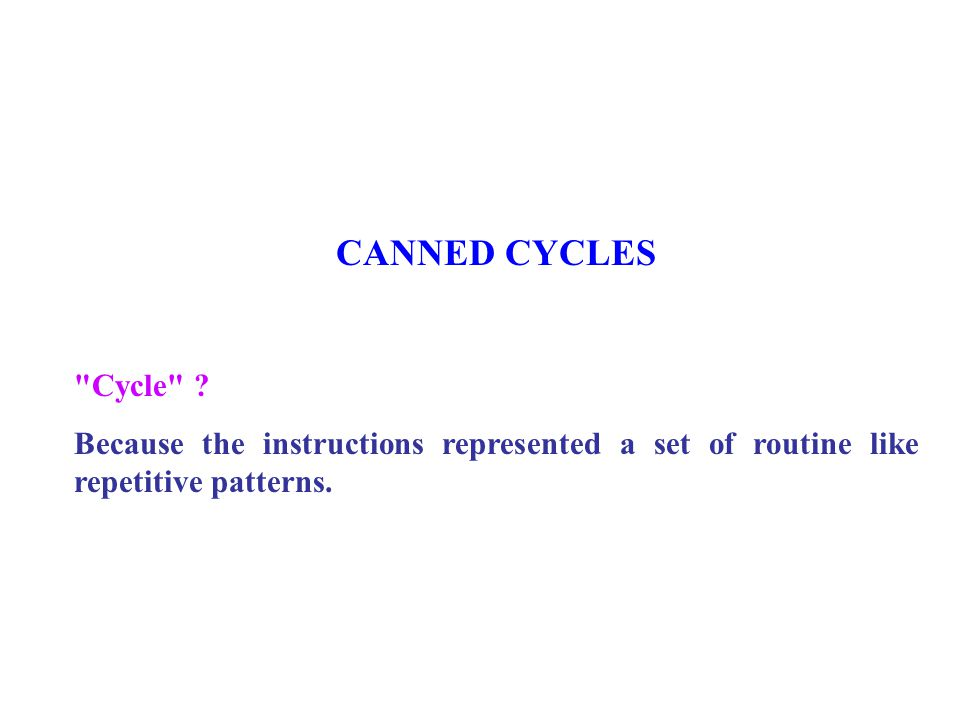 CANNED CYCLES Cycle .
