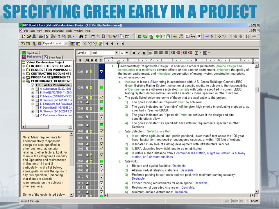SPECIFYING GREEN EARLY IN A PROJECT