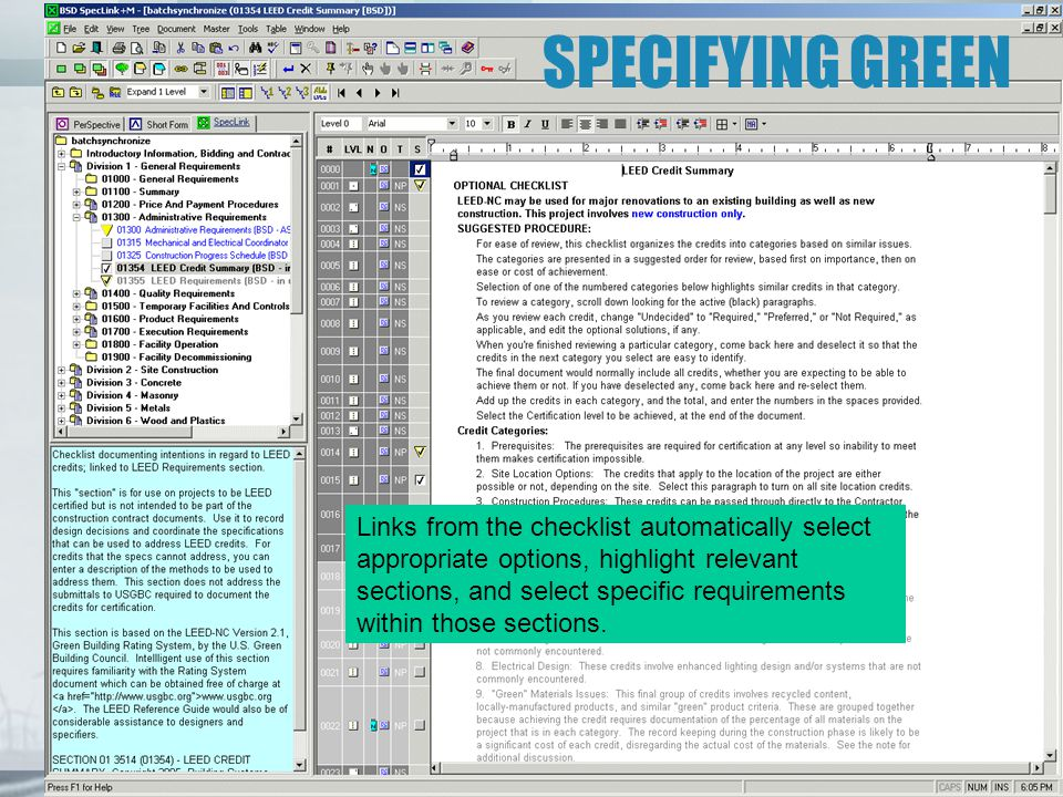 SPECIFYING GREEN