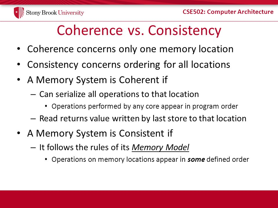 Coherence vs. Consistency
