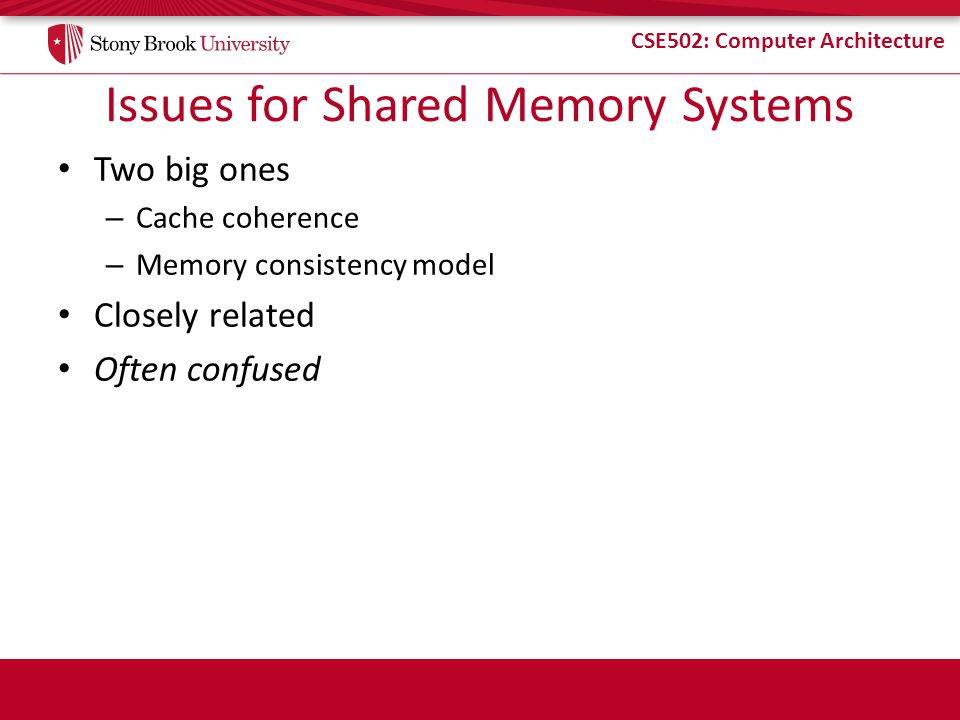 Issues for Shared Memory Systems