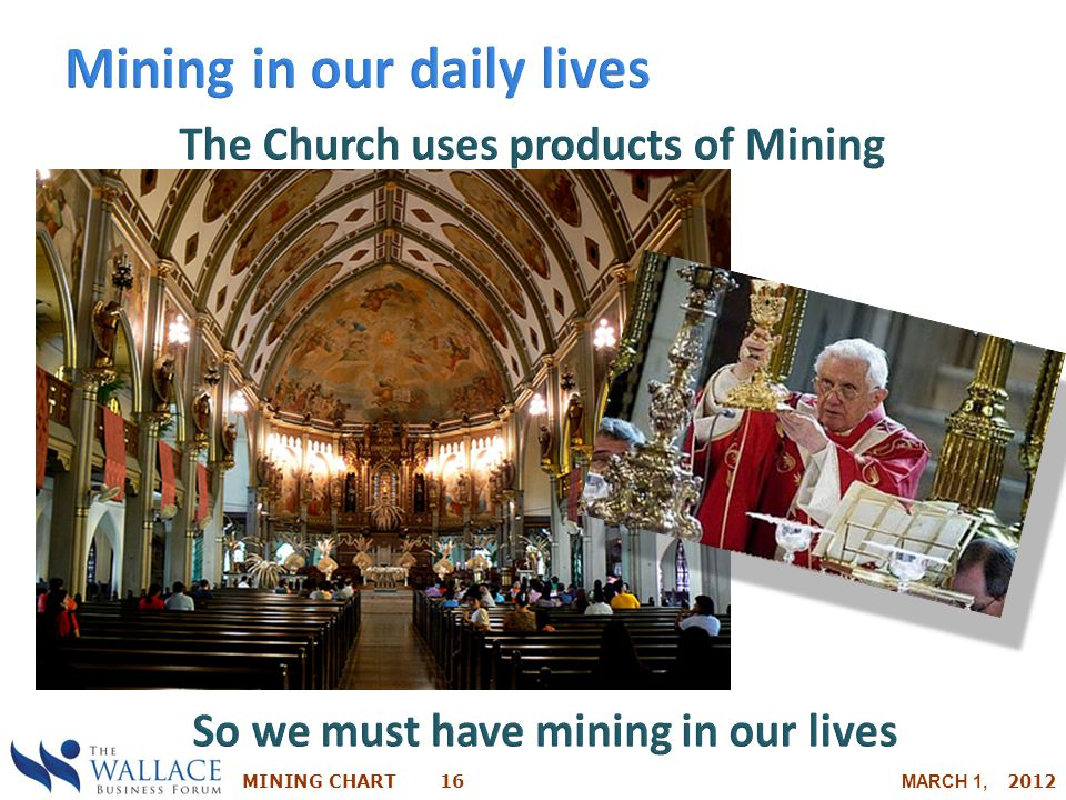 The Church uses products of Mining So we must have mining in our lives