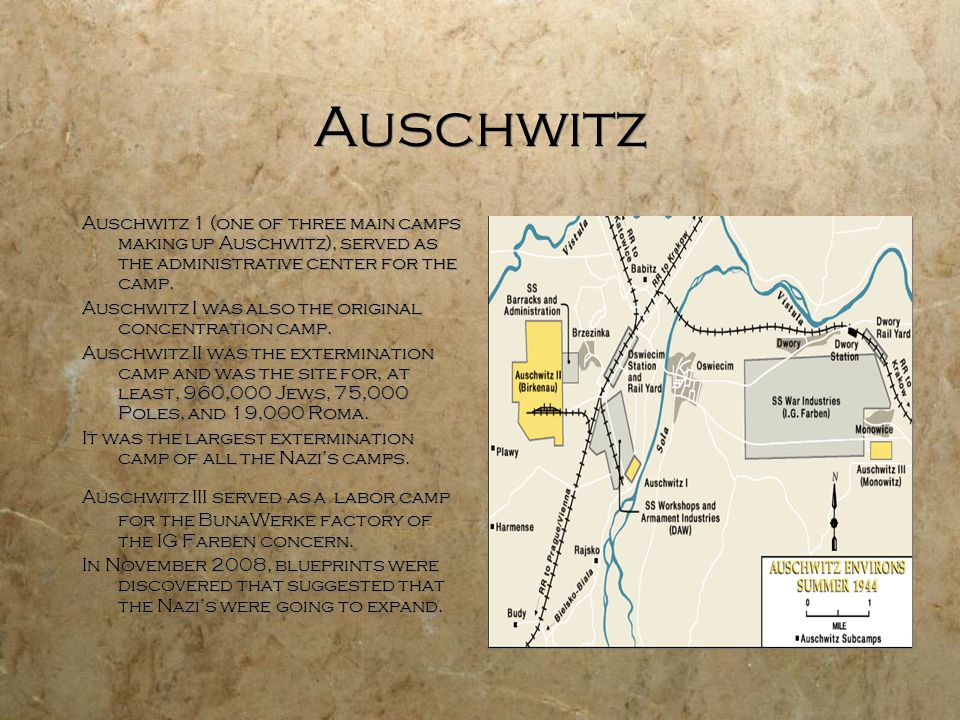 Auschwitz Auschwitz 1 (one of three main camps making up Auschwitz), served as the administrative center for the camp.