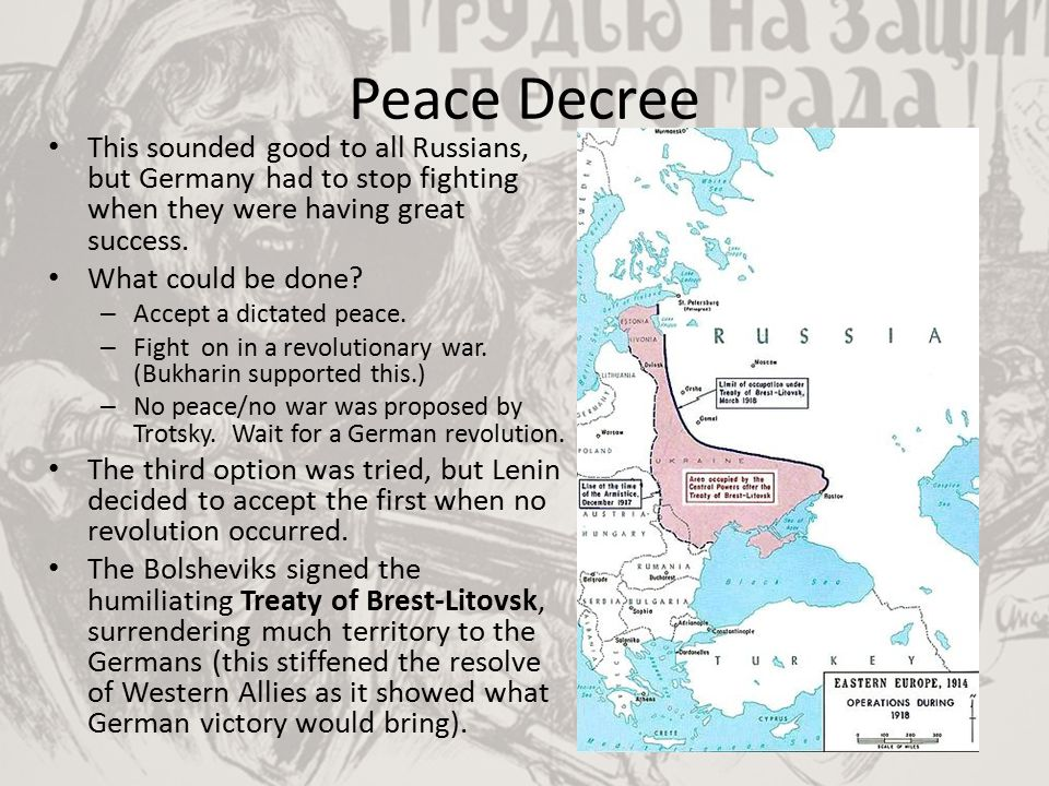 Peace Decree This sounded good to all Russians, but Germany had to stop fighting when they were having great success.