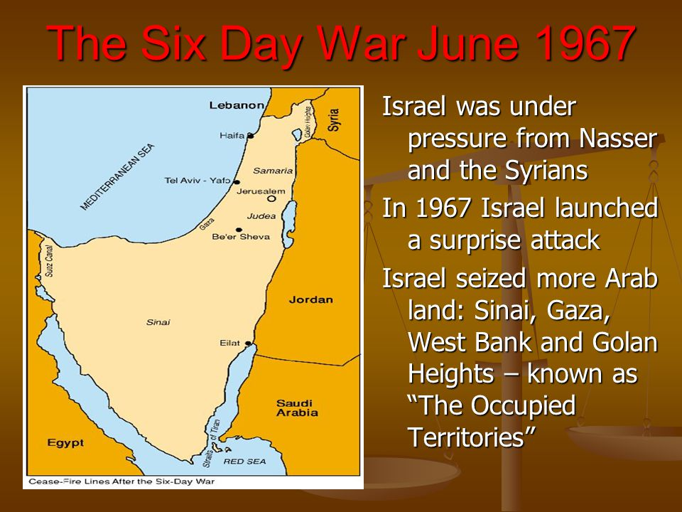 The Six Day War June 1967 Israel was under pressure from Nasser and the Syrians. In 1967 Israel launched a surprise attack.