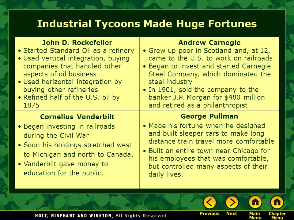 Industrial Tycoons Made Huge Fortunes