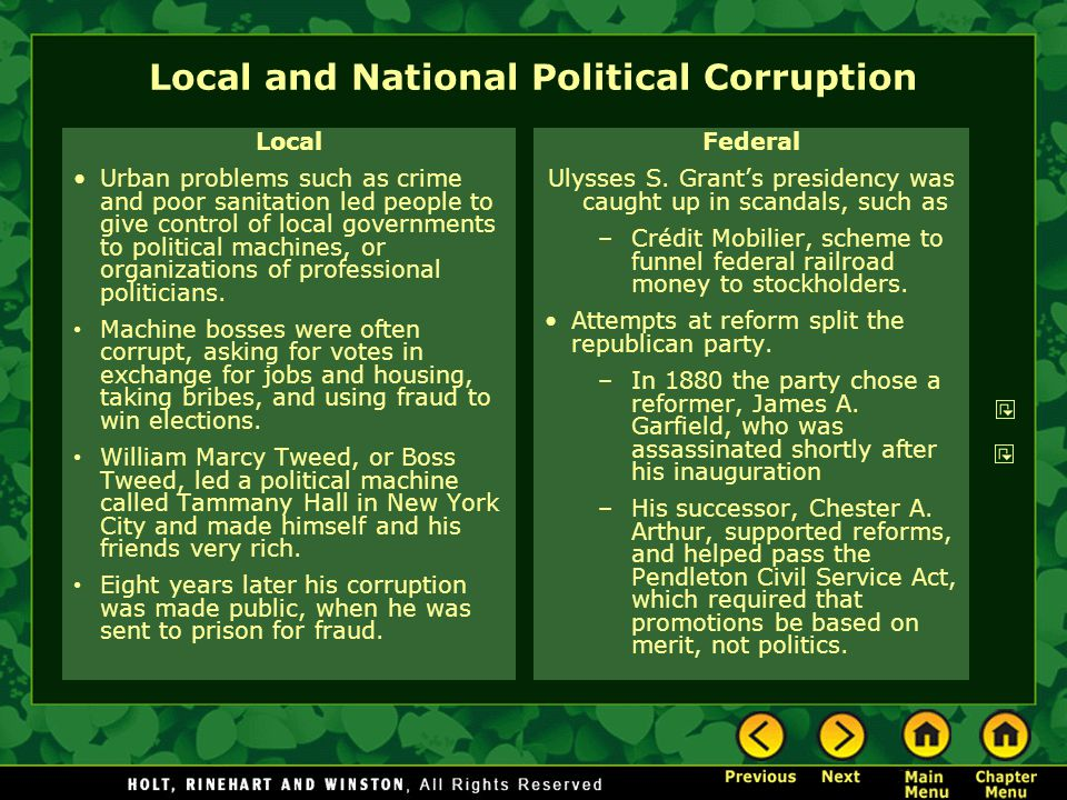 Local and National Political Corruption