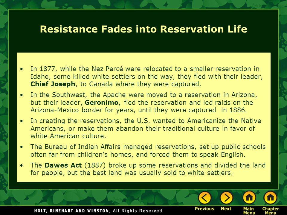Resistance Fades into Reservation Life