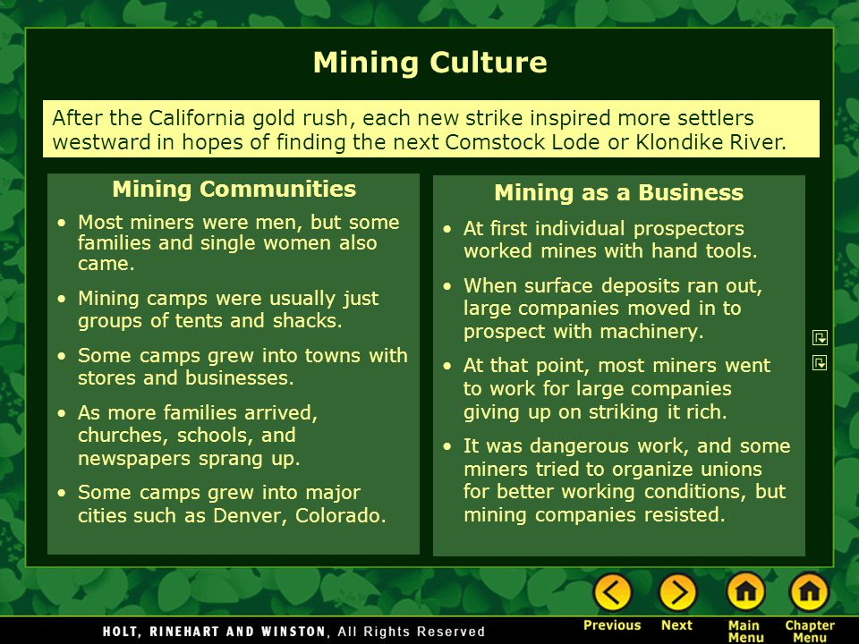 Mining Culture Mining Communities Mining as a Business
