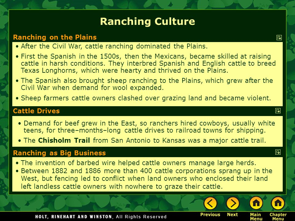 Ranching Culture Ranching on the Plains