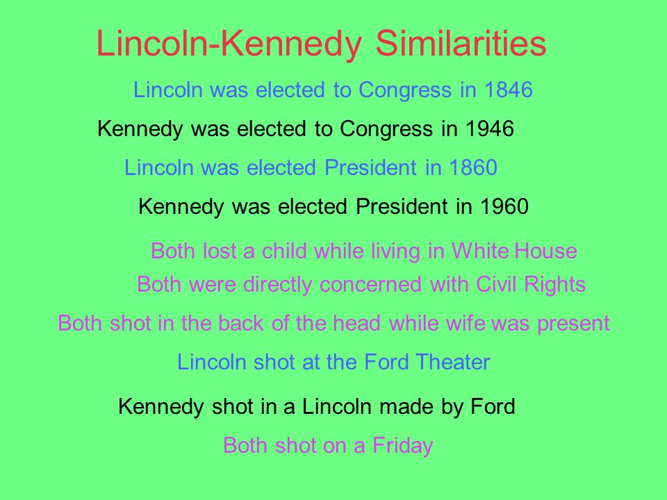 similarities between lincoln and kennedy assassination