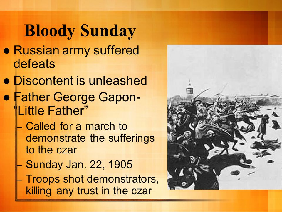Bloody Sunday Russian army suffered defeats Discontent is unleashed